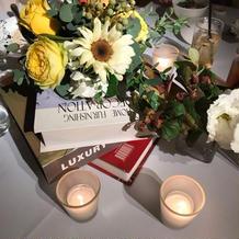 各テーブルの装花です。