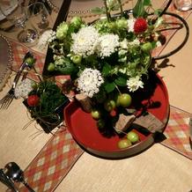 ゲスト卓装花(交渉で4千円、器は持込)