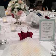 ゲストテーブルとメニュー表