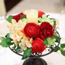 お花は赤をメインにお願いしました。