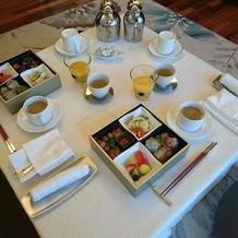 挙式当日の朝食(ヴィラにて)