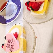 結婚や誕生日の方にケーキにプレート