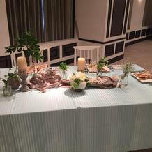 団体用のテーブルの飾り付け
