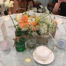 テーブル装花にはこだわりました