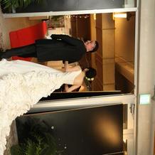 後ろの花が綺麗なドレス