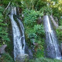 日本庭園にある、力強い滝です。