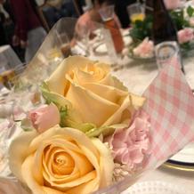 テーブル装花はお持ち帰りしてもらいました