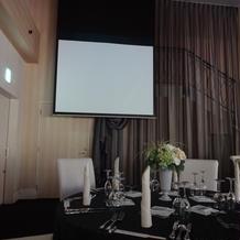 披露宴会場、スクリーンに映像を映せます。