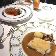 メインのお肉と魚料理