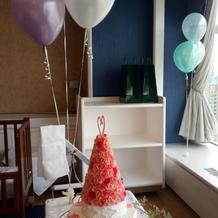 ケーキと飾り付けです。