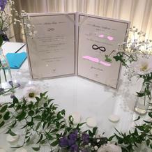 結婚誓約書を高砂横に飾りました