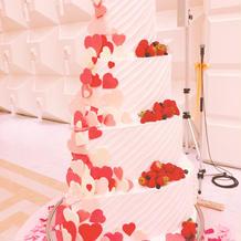 ハートがいっぱいでかわいいケーキ