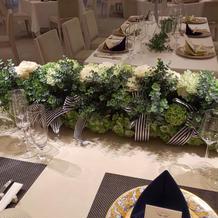披露宴会場の新郎新婦席の花
