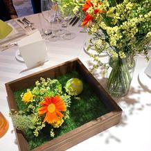 趣味をテーマにしたテーブル装花