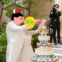 粉糖をかけてケーキ完成