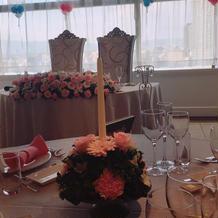 ゲストテーブルのお花・キャンドル