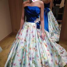 青カラードレス