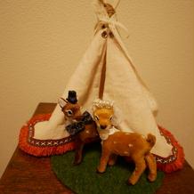 鹿さんとテントの手作りオブジェ
