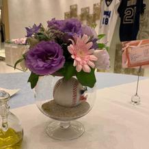ゲストテーブル 花瓶野球ボール