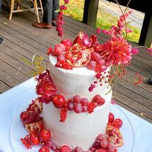 ケーキにお花を飾り付けしました