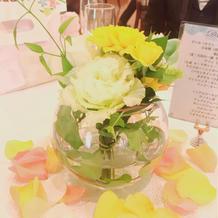 カラードレスの色に合わせた装花