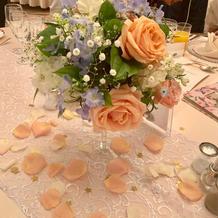 ゲストテーブル。花びらと星を散らしました