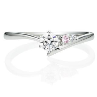 PT900 サイドストーン Vライン ピンク/ホワイトダイヤモンド リング