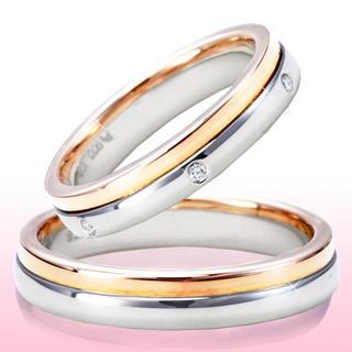 プラチナとピンクの大人の色気漂う結婚指輪