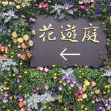 入口の看板はお花でいっぱい