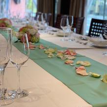 オーダー可能なテーブルランナー 花弁花束