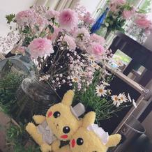桜がさかない時期でも桜の様な装花に!