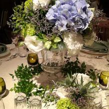 テーブル装花。 あじさい?