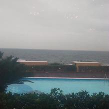 朝食会場からの眺めは雨天でも圧巻です☆