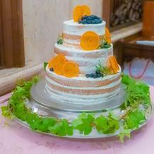 オレンジ×ブルーベリーで可愛いケーキ