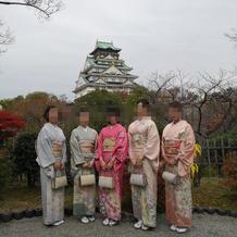 庭園から見える大阪城