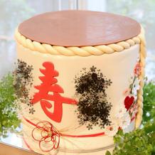 樽ケーキ、フタはチョコレートです