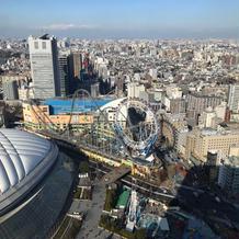 ホテルからは東京ドームシティが一望できる