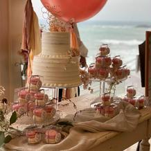 ウェディングケーキにプチギフトを装飾