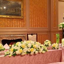 模擬披露宴のメインテーブル