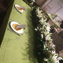 広い披露宴会場のメインテーブル