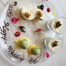 試食会デザート。ピスタチオのアイス絶品