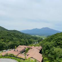 山の上テラスからの浅間山を眺める景色