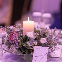 テーブル装花は2種類をランダムで
