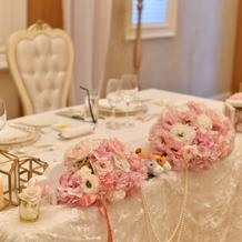 メインテーブル装花コーディネート