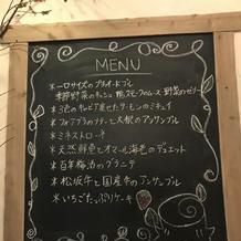 部屋の黒板にメニュー表