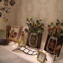 披露宴会場入り口の装飾スペース