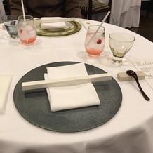 試食会のテーブル
