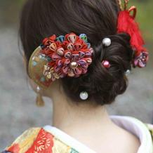 和装髪飾り前撮り手作り持ち込みました