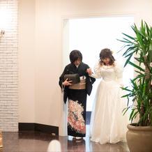 新婦母の手作りドレス