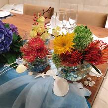 アリエルをイメージしたメインテーブル装花